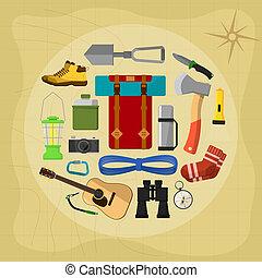 symboles, équipement, camping, icônes