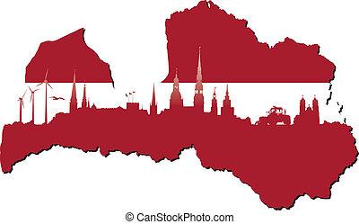 symboles, état, lettonie, business, histoire