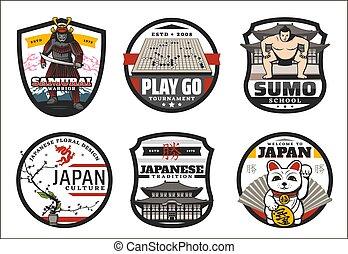 symboles, accueil, japon, japonaise, signes