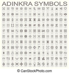 symboles, adinkra, monochrome, ensemble, icônes