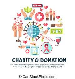 symboles, affiche, donation, vecteur, charité