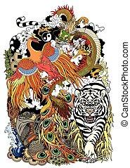 symboles, animaux, shui, feng