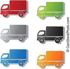 symboles, autocollant, -, livraison, vecteur, camion, icône
