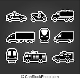 symboles, autocollants, ensemble, transport