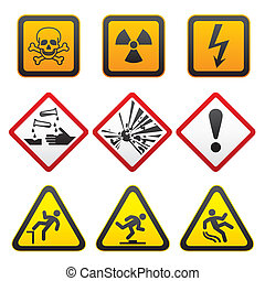 symboles, avertissement, -, danger, signes
