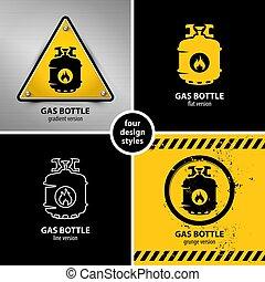 symboles, avertissement, ensemble, essence, bouteille