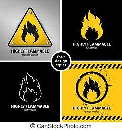 symboles, avertissement, ensemble, inflammable, hautement