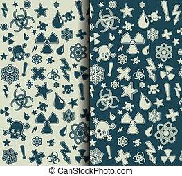 symboles, avertissement, ensemble, patterns., seamless
