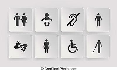 symboles, bébé, handicapé, toilettes
