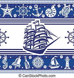 symboles, bannières, bateau, nautique