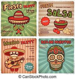 symboles, bannières, ensemble, mexicain, retro