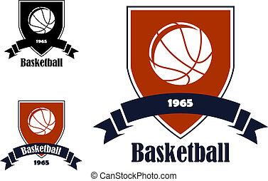 symboles, basket-ball, sports, emblèmes