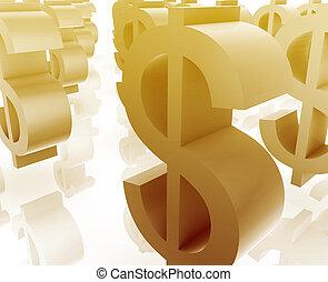 symboles, beaucoup, dollar