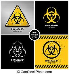 symboles, biohazard, ensemble