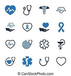 symboles, bleu, version, -, healthcare