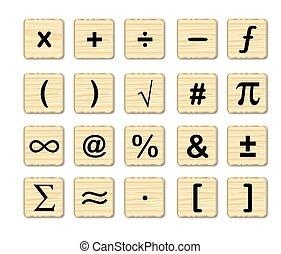 symboles, bois, math