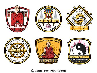 symboles, bouddhisme, signes, moine, religion