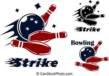 symboles, bowling, icônes