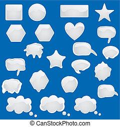 symboles, bulles, ensemble, t, icônes