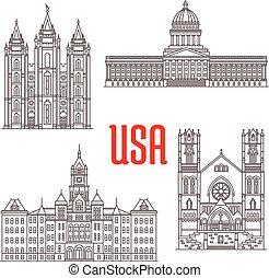 symboles, célèbre, bâtiments, nous, icônes