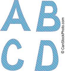 symboles, c, lettres, alphabet, b, d