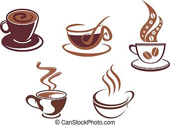 symboles, café thé, icônes