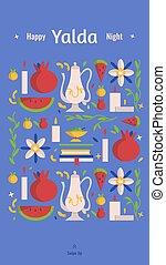 symboles, celebration., grenade, yalda, fou, -, pastèque, poésie, social, vacances, histoire, heureux, quarante, solstice, festival, iranien, média, books., gabarit, hiver, nuit, bougies