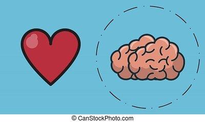 symboles, cerveau, animation, hd, humain