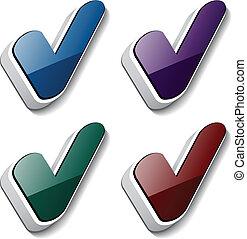 symboles, checkmark, vecteur, 3d