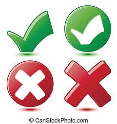 symboles, checkmark, vert, croix, rouges