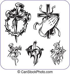 symboles, chrétien, vecteur, -, illustration.