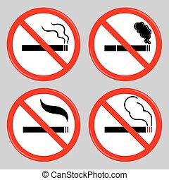 symboles, cigarette, interdit, fumer, non