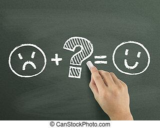 symboles, client, main, dessiné, satisfaction