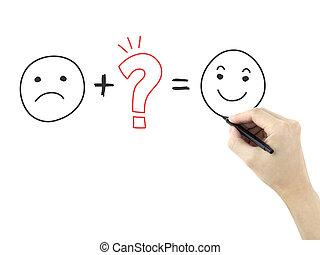 symboles, client, main homme, dessiné, satisfaction