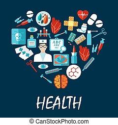 symboles, coeur, monde médical, forme, affiche