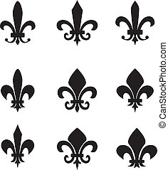 symboles, collection, lis, fleur, de
