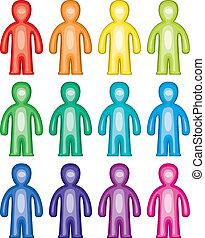 symboles, coloré, gens