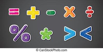 symboles, coloré, signes