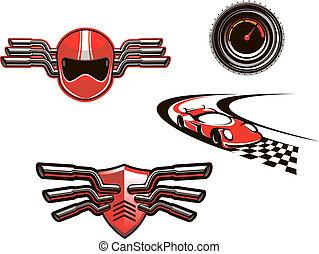 symboles, courses, éléments, sport