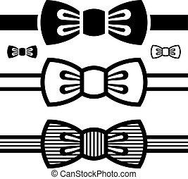 symboles, cravate, vecteur, noir, arc