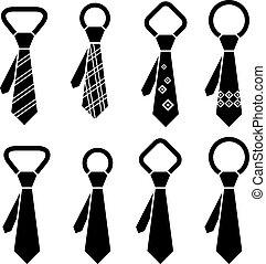symboles, cravate, vecteur, noir