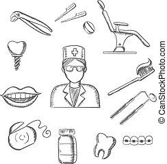symboles, croquis, art dentaire, dentaire, icônes