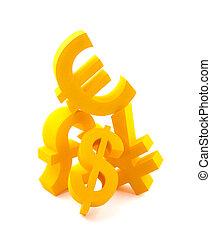 symboles, de, monnaie