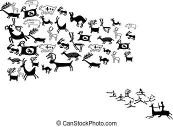symboles, dessins, animal, ancien