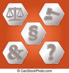 symboles, différent, ensemble, cinq, hexagones