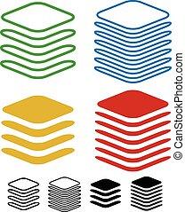 symboles, différent, pile