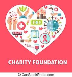 symboles, donation, vecteur, aide, charité