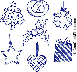 symboles, doodles, ensemble, noël