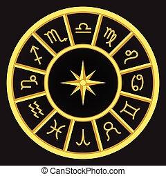 symboles, doré, zodiaque
