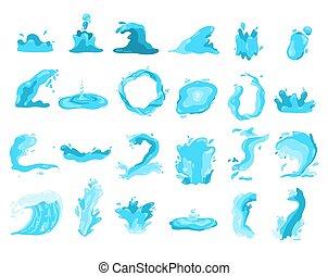 symboles, eclabousse, collection, eau, vagues, ondulé, bleu